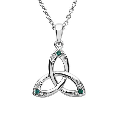 Platinum Plated Trinity Knot Pendant With Green And Clear Swarovski Crystals