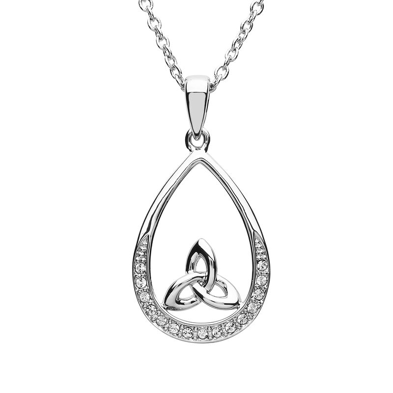 Platinum Plated Pear Drop Trinity Pendant Design With Clear Swarovski Crystals