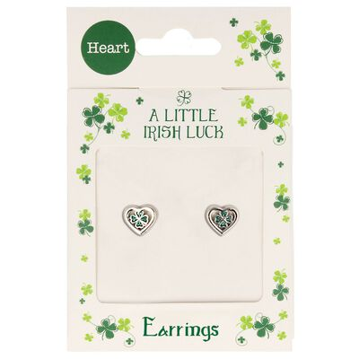 A Little Irish Luck Stud Earrings With Green Four Leaf Clover In Heart Design