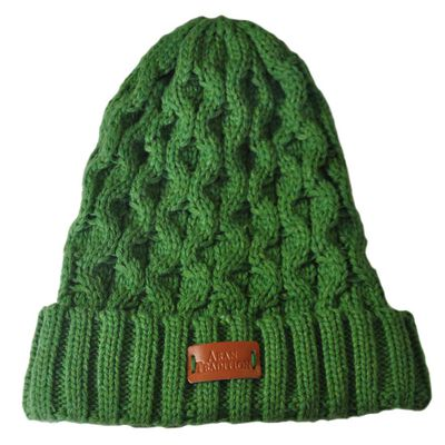 Aran Traditions Knitted Style Cable Design Beanie Hat  Emerald Green Colour