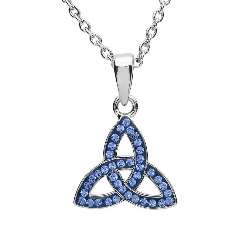 Platinum Plated Trinity Knot Pendant With Blue Swarovski Crystals