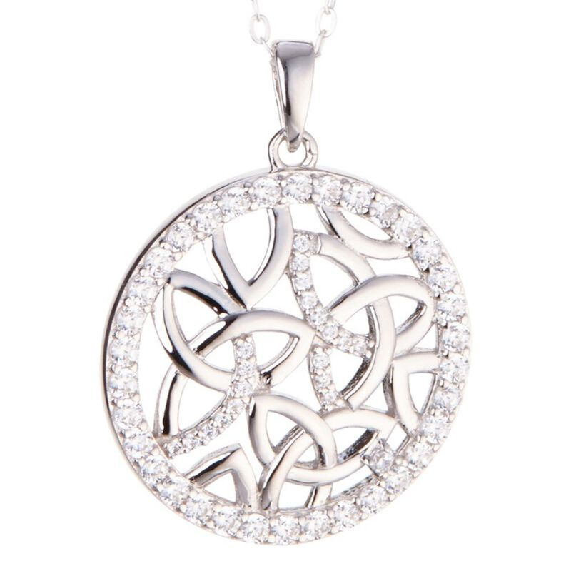 Sterling Silver Trinity Coin Pendant With Clear Coloured Cubic Zirconia Stones
