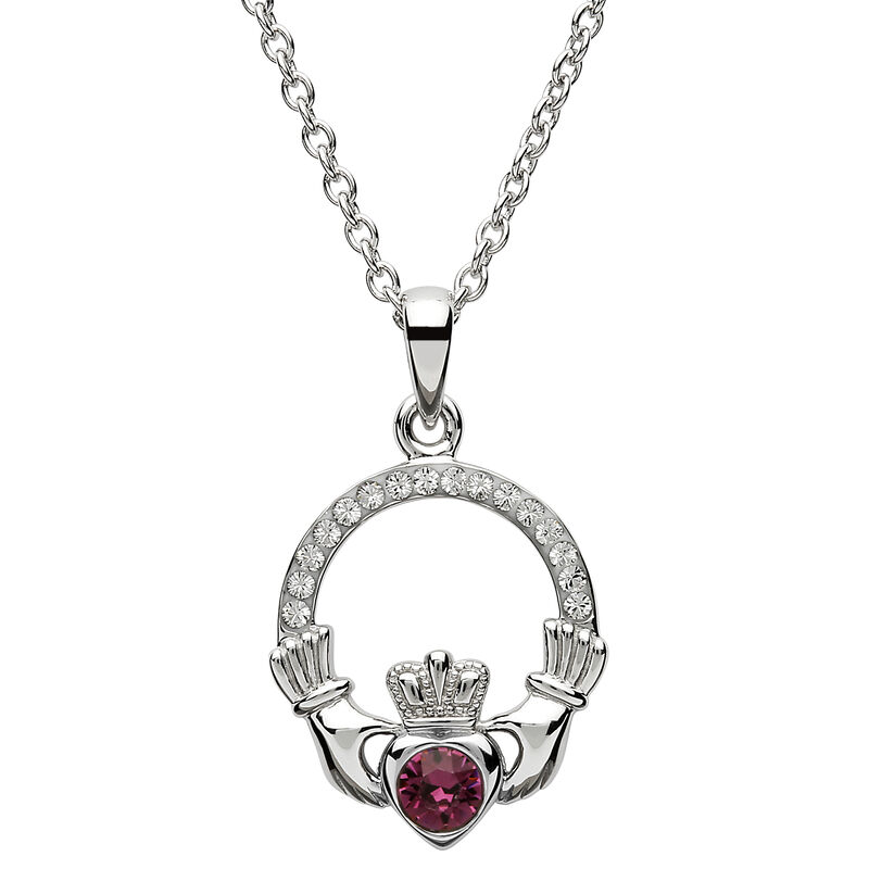 Platinum Plated Claddagh February Birthstone Pendant With Swarovski Crystals