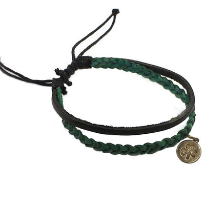Celtic Spirit Hand Crafted Leather Bracelet  With Shamrock  Green and Black Colour