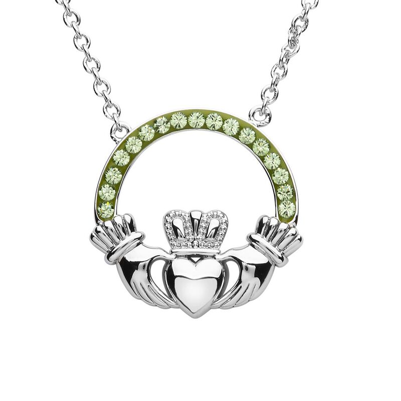 Platinum Plated Claddagh Pendant With Peridot Swarovski Crystals