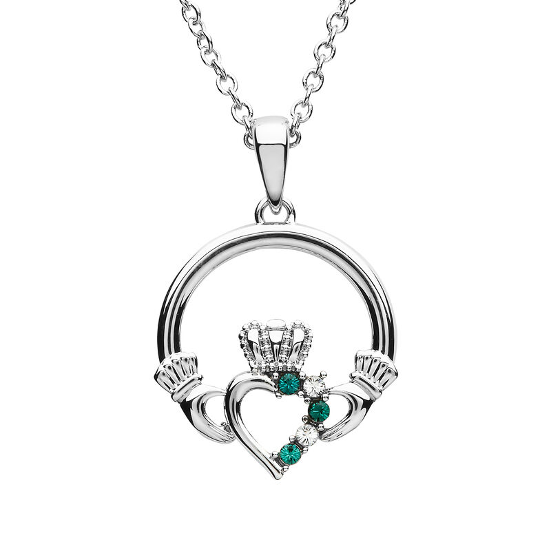 Platinum Plated Open Heart Claddagh Pendant With Clear And Peridot Swarovski crystals