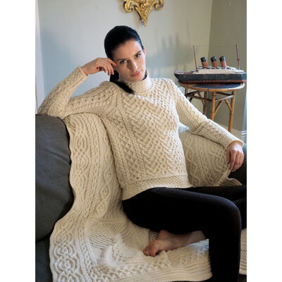 High Neck Cable Aran Sweater, Natural Colour