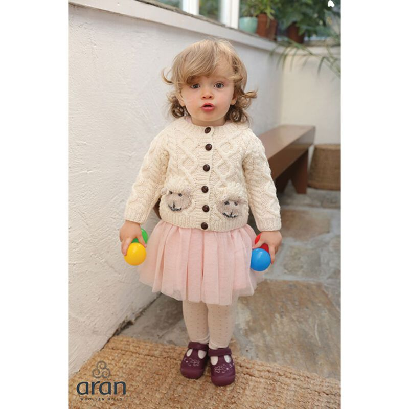 Irish Aran Baby Shepley Button Down Cardigan With Cute Sheep