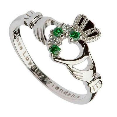 Hallmarked Sterling Silver Claddagh Ring With Green And Clear Zirconia Stone