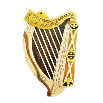 Wooden Irish Harp Plaque Designed Intarsia Product 200Mm X125Mm