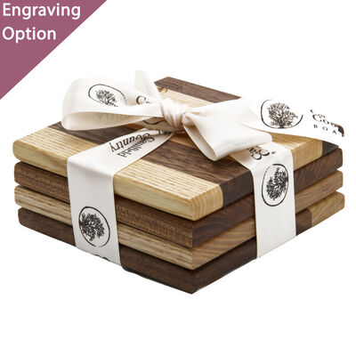 Set of 4 Wooden Coasters Wrapped In Ribbon