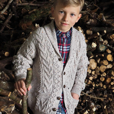 100% Merino Wool Cardigan  Oatmeal Colour
