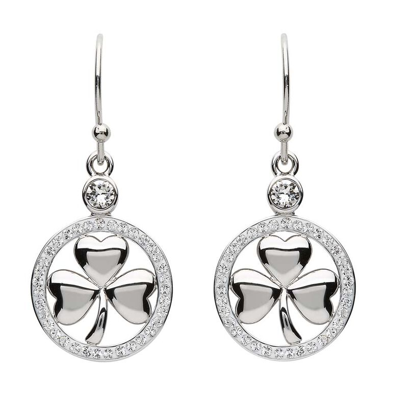 Platinum Plated Shamorck Drop Earrings With Clear Swarovski Crystals Circle