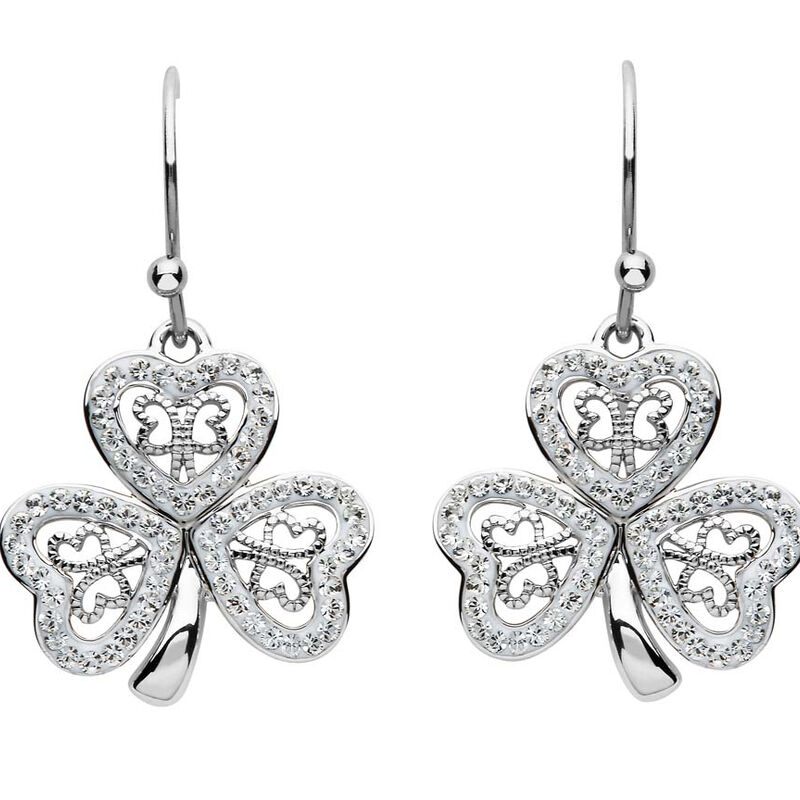 Platinum Plated Filigree Shamrock Drop Earrings With Clear Swarovski Crystals
