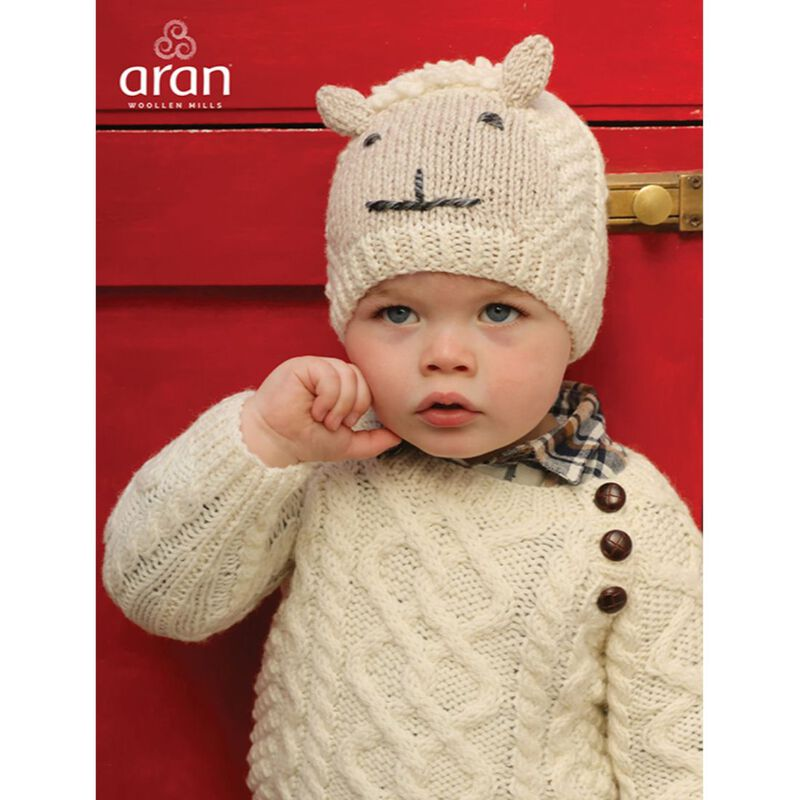 Irish Aran Baby Shepley Woollen Beanie Hat With Cute Sheep Design