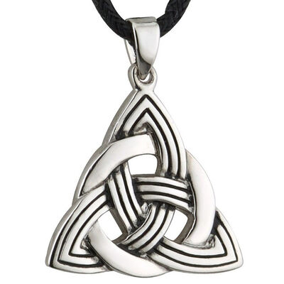 Unique Pewter Style Celtic Trinity Knot Designed Pendant On Cord