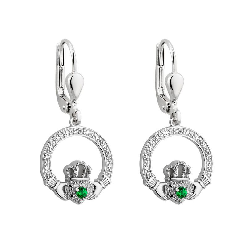 Sterling Silver Claddagh Earrings With Texture Detailing And Green Gem
