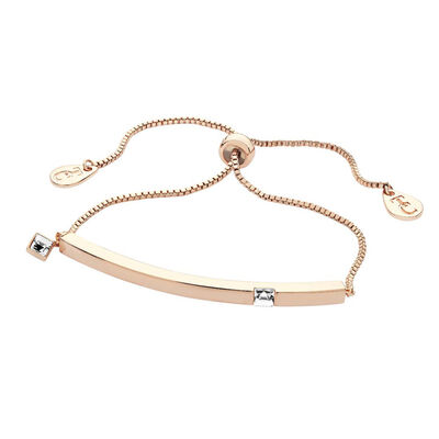 Tipperary Crystal April Rose Gold Bar Clear Crystal Birthstone Bracelet