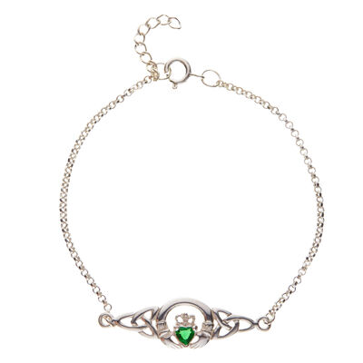 Hallmarked Sterling Silver Claddagh Bracelet With Emerald Cubic Zirconia Design