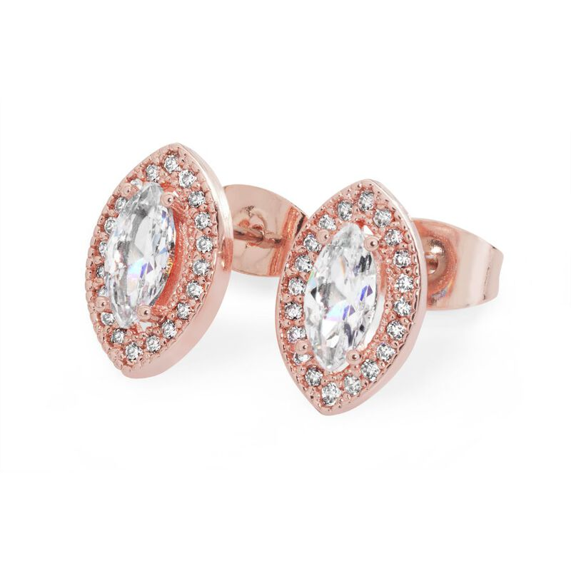 Tipperary Rose Gold Rose Gold Marquise Cut Earrings With Diamante Detail