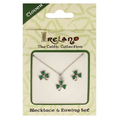 Ireland The Celtic Collection Green Jewel Studded Shamrock Jewellery Set