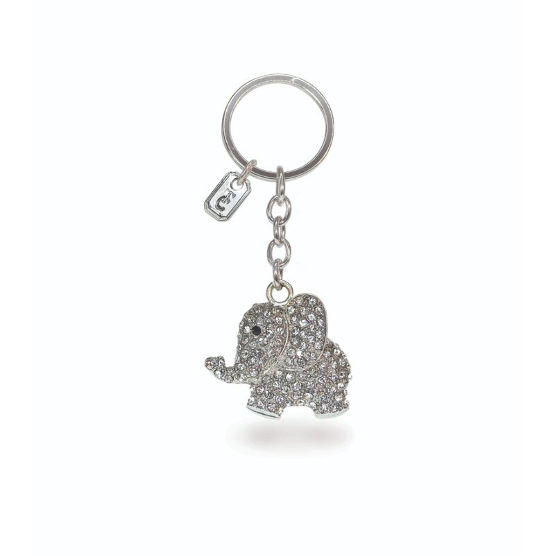 Tipperary Crystal Collection Classic Sparkly Silver Elephant Keychain
