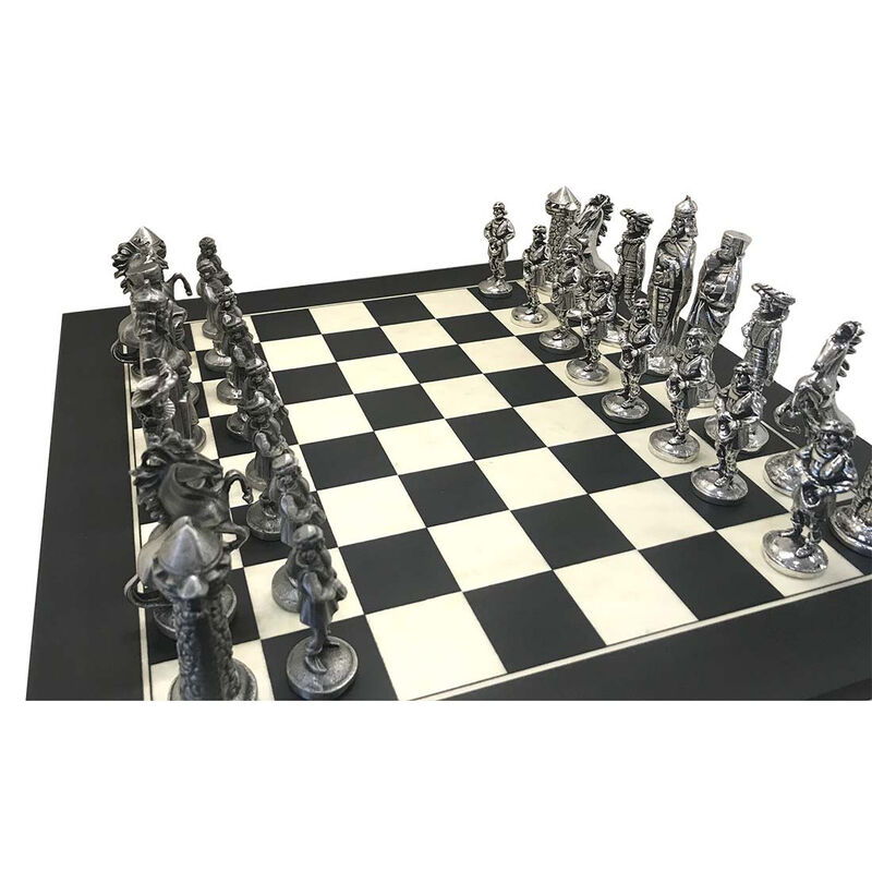 Mullingar Pewter Medieval Irish Designed Chess Set With Board