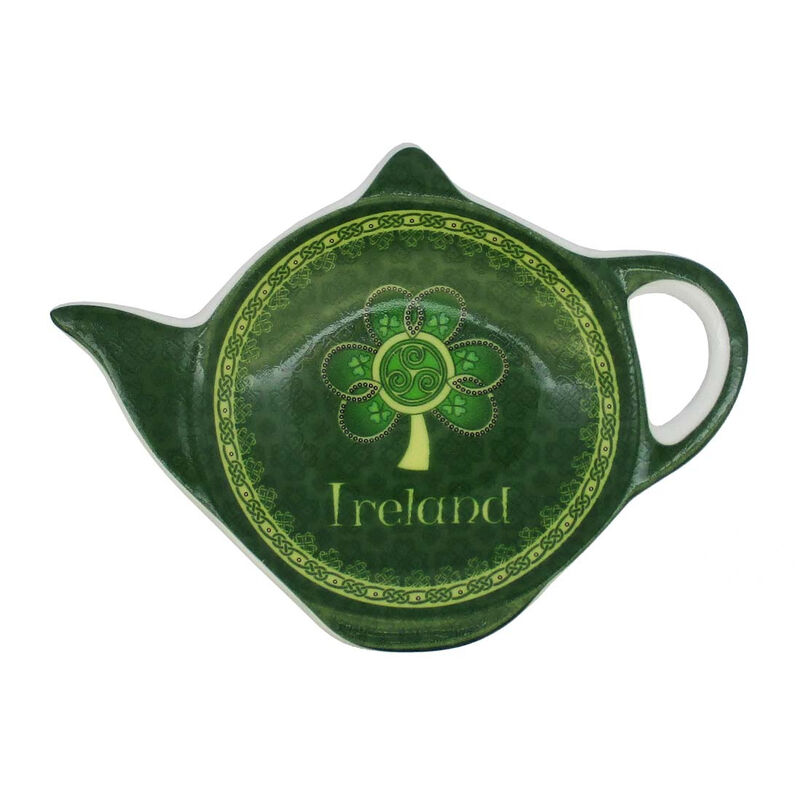 Shamrock Spiral Ireland Tea Bag Holder With A Green And Yellow Celtic Design