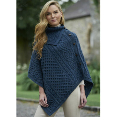 Ladies Traditional Buttoned Cowl Neck Poncho  Mallard Blue Colour