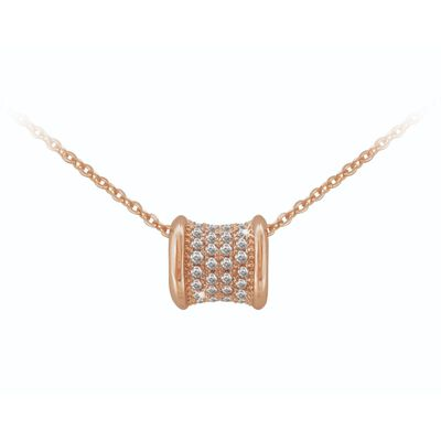 Tipperary Rose Gold Rose Gold Barrell Pendant With Diamante Detail