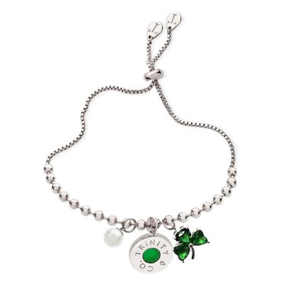 Trinity and Co. Silver Charm Bracelet With Pearl And Green Shamrock Gem Charm