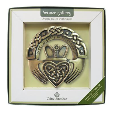 Bronze Plated Wall Plaque With Claddagh Design