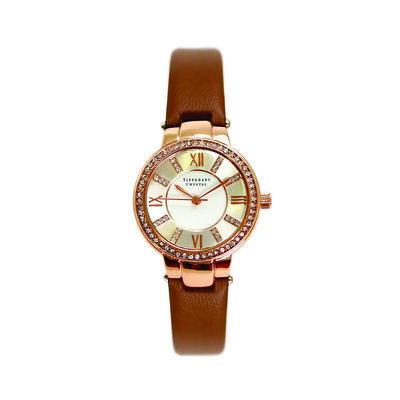 Tipperary Crystal Continuance Rose Gold Ladies Watch With Leather Strap