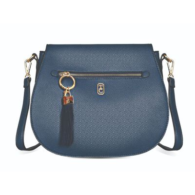Tipperary Crystal Navy Saddle Style Satchel With Gold Hardware
