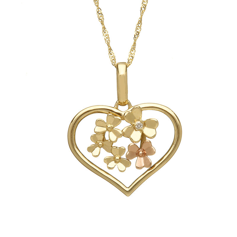 House Of Lor 9ct Gold Love Shamrock Open Heart Pendant