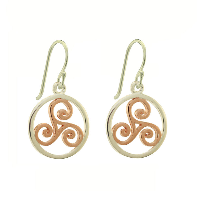 Hallmarked Sterling Silver Triskele Drop Earrings In Silver And Rose Gold
