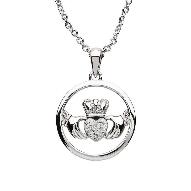 Platinum Plated Claddagh Pendant Circle And Heart With Clear Swarovski Crystals