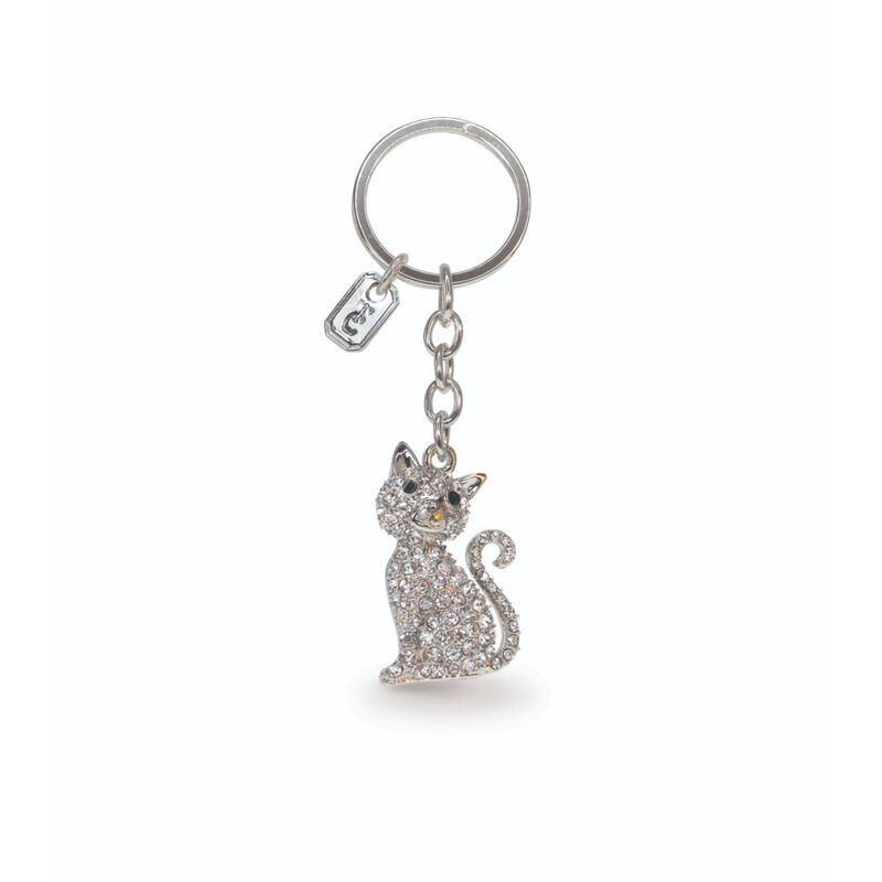 Tipperary Crystal Collection Classic Sparkly Silver Cat Keychain