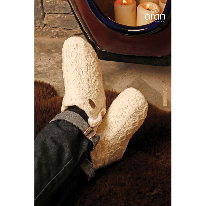 Aran Knitted Boot Slippers