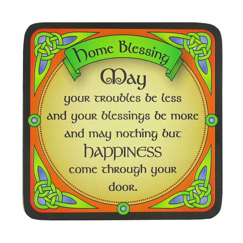 Irish Celtic Coaster With A Home blessing Design