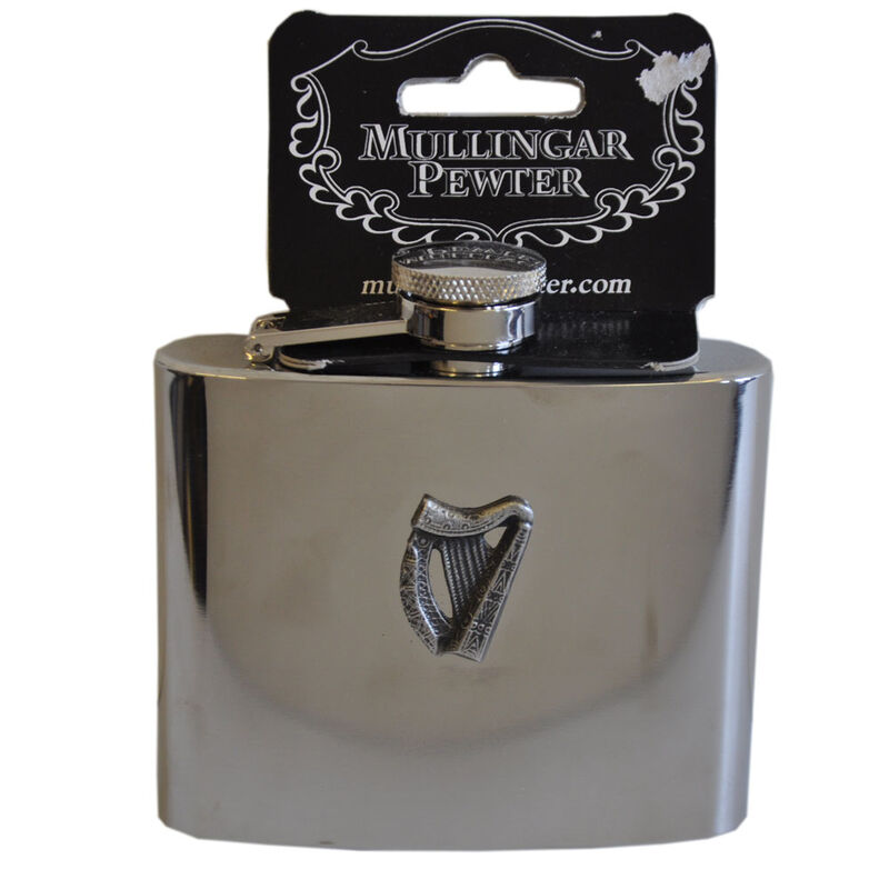 Mullingar Pewter Stainless Steel Hip Flask With Harp