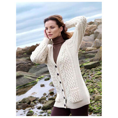 100% Merino Wool Boyfriend V-Neck Cardigan With Buttons, Natural Colour