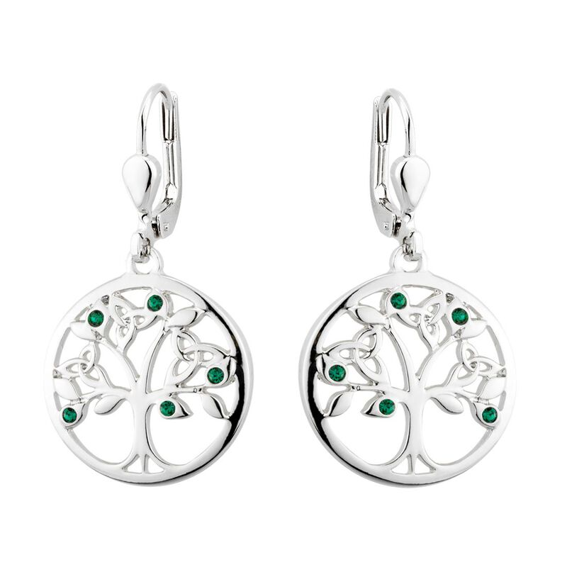 Rhodium Plated Solvar Tree Of Life Drop Earrings With Green Crystal Stones