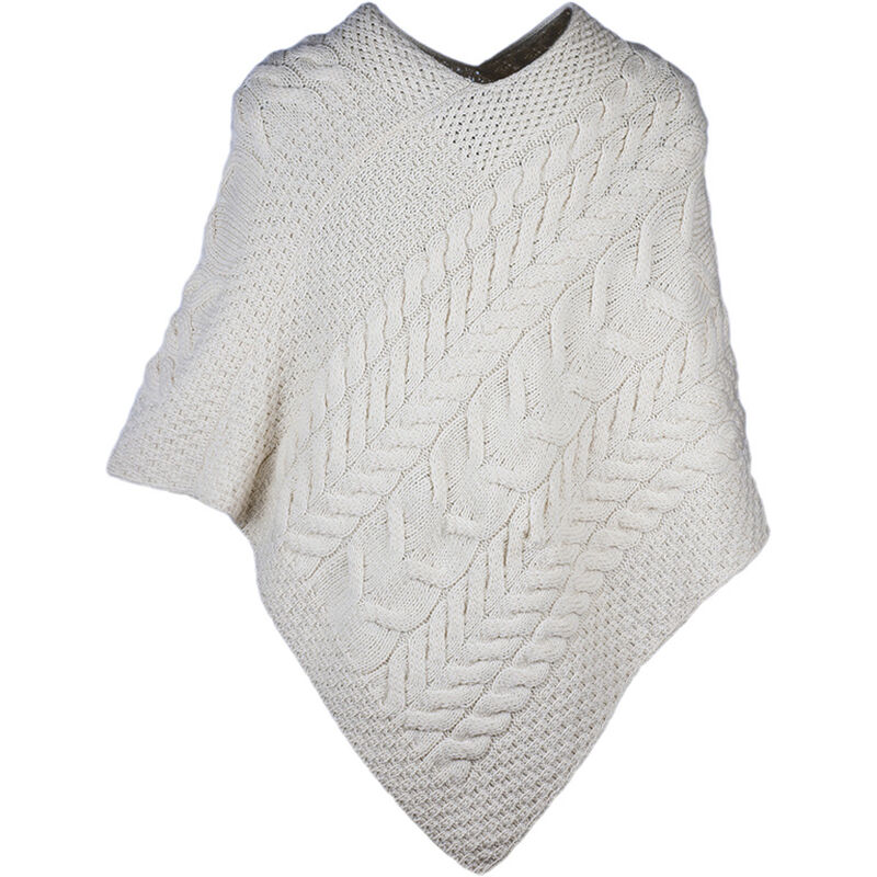 Super Soft Merino Wool Triangular Aran Cable Knit Design Poncho  Natural Colour