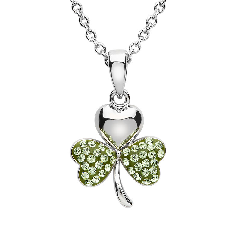 Platinum Plated Shamrock Pendant With Peridot Swarovski Crystals On Ttwo Leafs  Small