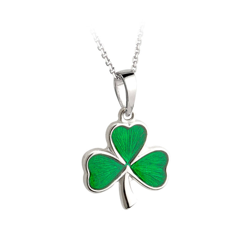 Hallmarked Sterling Silver Shamrock Pendant With Enamel Green Leaves