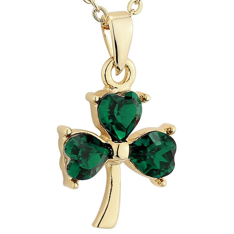 Gold Plated Green Crystal Stone Shamrock Style Designed Pendant