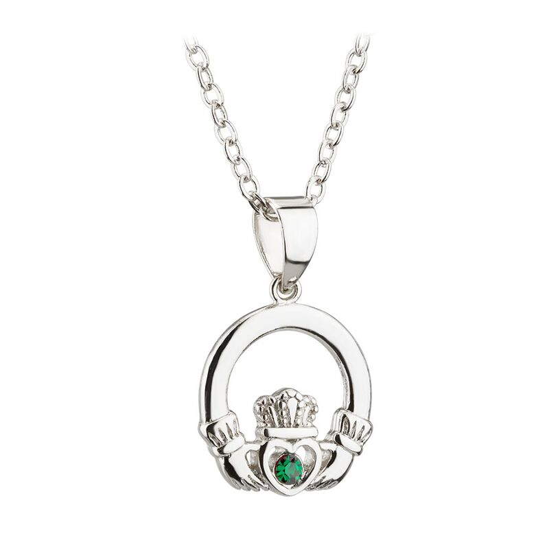 Rhodium Plated Solvar Claddagh Pendant With Green Crystal Stone