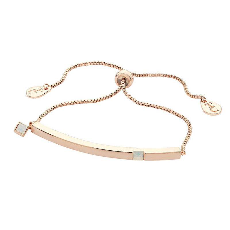 Tipperary Crystal June Rose Gold Bar Pearl Crystal Birthstone Bracelet