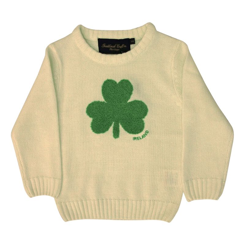 Round Neck Ireland Kids Sweater with Fluffy Shamrock  Cream Colour